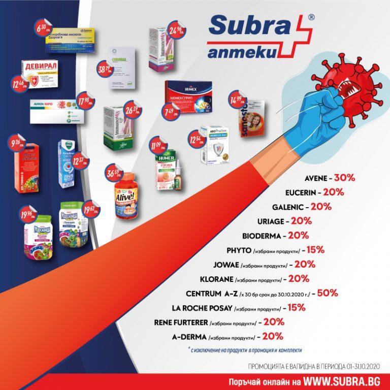 Октомврийските промоции на Аптека SUBRA